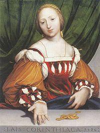 Λαΐς η Κορίνθια. Πίνακας του Χανς Χόλμπαϊν, 1526.