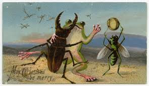 Μπορεί τα βατράχια και τα σκαθάρια να μην είναι τα κατ' εξοχήν σύμβολα των Χριστουγέννων, αλλά τουλάχιστον στη συγκεκριμένη εικόνα χορεύουν και γιορτάζουν, σε αντίθεση με τα πιο μακάβρια μοτίβα που εμφανίζονται σε άλλες κάρτες.